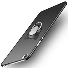 Handyhülle Hülle Kunststoff Schutzhülle Matt mit Fingerring Ständer für Huawei P8 Max Schwarz