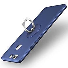 Handyhülle Hülle Kunststoff Schutzhülle Matt mit Fingerring Ständer für Huawei P9 Plus Blau