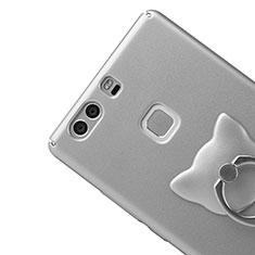 Handyhülle Hülle Kunststoff Schutzhülle Matt mit Fingerring Ständer für Huawei P9 Plus Silber