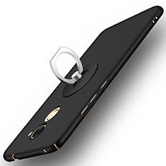Handyhülle Hülle Kunststoff Schutzhülle Matt mit Fingerring Ständer für Huawei Y7 Prime Schwarz