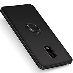 Handyhülle Hülle Kunststoff Schutzhülle Matt mit Fingerring Ständer für Nokia 6 Schwarz