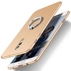 Handyhülle Hülle Kunststoff Schutzhülle Matt mit Fingerring Ständer für Samsung Galaxy C7 (2017) Gold