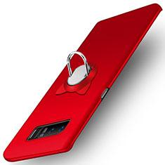 Handyhülle Hülle Kunststoff Schutzhülle Matt mit Fingerring Ständer für Samsung Galaxy Note 8 Rot