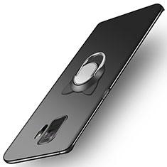 Handyhülle Hülle Kunststoff Schutzhülle Matt mit Fingerring Ständer für Samsung Galaxy S9 Schwarz