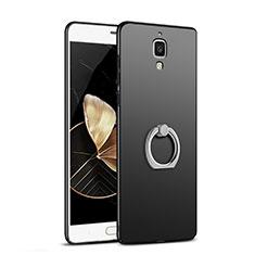 Handyhülle Hülle Kunststoff Schutzhülle Matt mit Fingerring Ständer für Xiaomi Mi 4 Schwarz