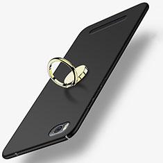 Handyhülle Hülle Kunststoff Schutzhülle Matt mit Fingerring Ständer für Xiaomi Mi 4i Schwarz