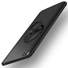Handyhülle Hülle Kunststoff Schutzhülle Matt mit Fingerring Ständer für Xiaomi Mi 5S Schwarz