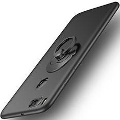 Handyhülle Hülle Kunststoff Schutzhülle Matt mit Fingerring Ständer für Xiaomi Mi A1 Schwarz