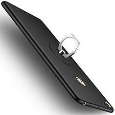 Handyhülle Hülle Kunststoff Schutzhülle Matt mit Fingerring Ständer für Xiaomi Mi Max 2 Schwarz