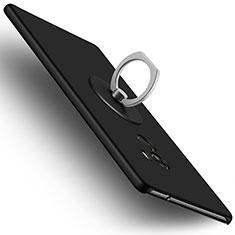 Handyhülle Hülle Kunststoff Schutzhülle Matt mit Fingerring Ständer für Xiaomi Mi Mix Schwarz