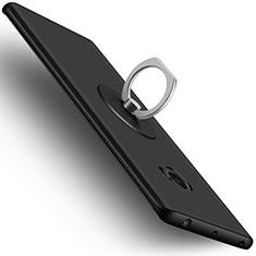 Handyhülle Hülle Kunststoff Schutzhülle Matt mit Fingerring Ständer für Xiaomi Mi Note 2 Special Edition Schwarz