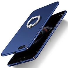 Handyhülle Hülle Kunststoff Schutzhülle Matt mit Fingerring Ständer für Xiaomi Mi Note 3 Blau