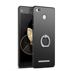 Handyhülle Hülle Kunststoff Schutzhülle Matt mit Fingerring Ständer für Xiaomi Redmi 3 Pro Schwarz