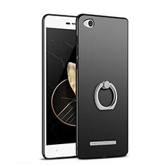 Handyhülle Hülle Kunststoff Schutzhülle Matt mit Fingerring Ständer für Xiaomi Redmi 3 Schwarz