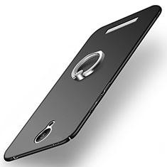 Handyhülle Hülle Kunststoff Schutzhülle Matt mit Fingerring Ständer für Xiaomi Redmi Note 2 Schwarz