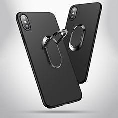 Handyhülle Hülle Kunststoff Schutzhülle Matt mit Fingerring Ständer T01 für Apple iPhone Xs Max Schwarz