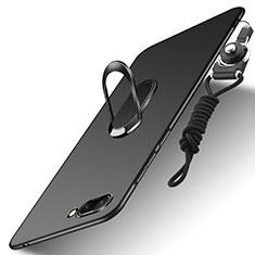 Handyhülle Hülle Kunststoff Schutzhülle Matt mit Fingerring Ständer und Lanyard für Huawei Honor 10 Schwarz