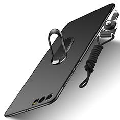 Handyhülle Hülle Kunststoff Schutzhülle Matt mit Fingerring Ständer und Lanyard für Huawei Honor 9 Schwarz