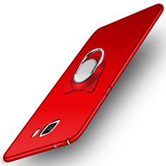 Handyhülle Hülle Kunststoff Schutzhülle Matt mit Magnetisch Fingerring Ständer für Samsung Galaxy A9 (2016) A9000 Rot