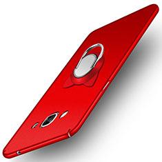 Handyhülle Hülle Kunststoff Schutzhülle Matt mit Magnetisch Fingerring Ständer für Samsung Galaxy J3 Pro (2016) J3110 Rot