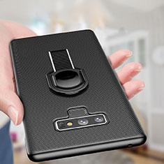 Handyhülle Hülle Kunststoff Schutzhülle Matt mit Magnetisch Fingerring Ständer für Samsung Galaxy Note 9 Schwarz