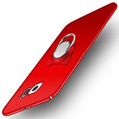 Handyhülle Hülle Kunststoff Schutzhülle Matt mit Magnetisch Fingerring Ständer für Samsung Galaxy S6 SM-G920 Rot