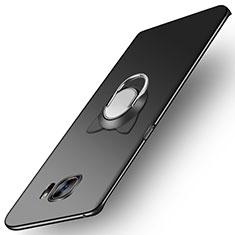 Handyhülle Hülle Kunststoff Schutzhülle Matt mit Magnetisch Fingerring Ständer für Samsung Galaxy S7 Edge G935F Schwarz