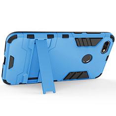 Handyhülle Hülle Kunststoff Schutzhülle Matt mit Ständer für Huawei Enjoy 7 Blau