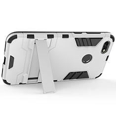Handyhülle Hülle Kunststoff Schutzhülle Matt mit Ständer für Huawei Enjoy 7 Silber