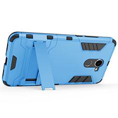 Handyhülle Hülle Kunststoff Schutzhülle Matt mit Ständer für Huawei Y7 Prime Blau