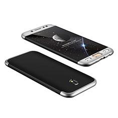 Handyhülle Hülle Kunststoff Schutzhülle Matt Vorder und Rückseite 360 Grad für Samsung Galaxy J7 Pro Silber