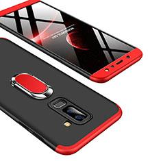 Handyhülle Hülle Kunststoff Schutzhülle Matt Vorder und Rückseite 360 Grad mit Fingerring Ständer Q01 für Samsung Galaxy A9 Star Lite Rot und Schwarz