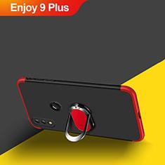 Handyhülle Hülle Kunststoff Schutzhülle Matt Vorder und Rückseite 360 Grad mit Magnetisch Fingerring Ständer für Huawei Enjoy 9 Plus Rot und Schwarz