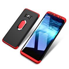 Handyhülle Hülle Kunststoff Schutzhülle Matt Vorder und Rückseite 360 Grad mit Magnetisch Fingerring Ständer für Samsung Galaxy S8 Rot und Schwarz