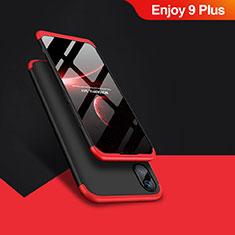 Handyhülle Hülle Kunststoff Schutzhülle Matt Vorder und Rückseite 360 Grad Q01 für Huawei Enjoy 9 Plus Rot und Schwarz