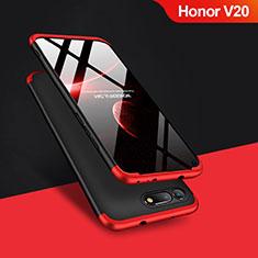 Handyhülle Hülle Kunststoff Schutzhülle Matt Vorder und Rückseite 360 Grad Q01 für Huawei Honor V20 Rot und Schwarz