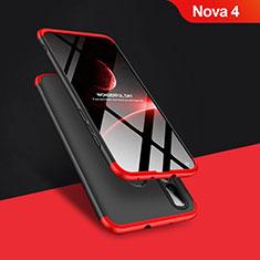 Handyhülle Hülle Kunststoff Schutzhülle Matt Vorder und Rückseite 360 Grad Q01 für Huawei Nova 4 Rot und Schwarz