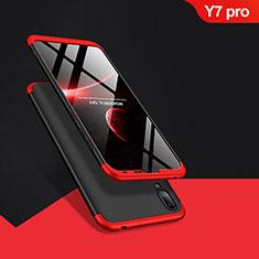 Handyhülle Hülle Kunststoff Schutzhülle Matt Vorder und Rückseite 360 Grad Q01 für Huawei Y7 (2019) Rot und Schwarz