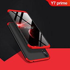 Handyhülle Hülle Kunststoff Schutzhülle Matt Vorder und Rückseite 360 Grad Q01 für Huawei Y7 Prime (2019) Rot und Schwarz