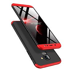 Handyhülle Hülle Kunststoff Schutzhülle Matt Vorder und Rückseite 360 Grad Q01 für Samsung Galaxy A6 (2018) Rot und Schwarz
