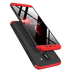 Handyhülle Hülle Kunststoff Schutzhülle Matt Vorder und Rückseite 360 Grad Q02 für Samsung Galaxy A6 Plus (2018) Rot und Schwarz