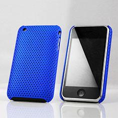 Handyhülle Hülle Kunststoff Schutzhülle Punkte Loch für Apple iPhone 3G 3GS Blau