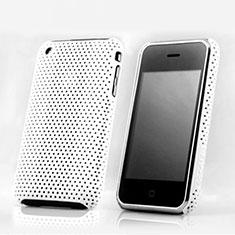Handyhülle Hülle Kunststoff Schutzhülle Punkte Loch für Apple iPhone 3G 3GS Weiß