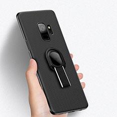 Handyhülle Hülle Kunststoff Schutzhülle Punkte Loch mit Fingerring Ständer für Samsung Galaxy S9 Schwarz