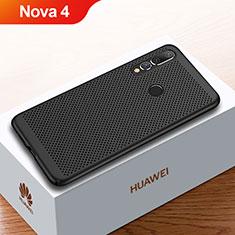 Handyhülle Hülle Kunststoff Schutzhülle Punkte Loch Tasche für Huawei Nova 4 Schwarz