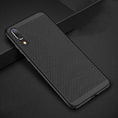 Handyhülle Hülle Kunststoff Schutzhülle Punkte Loch Tasche für Huawei P20 Schwarz
