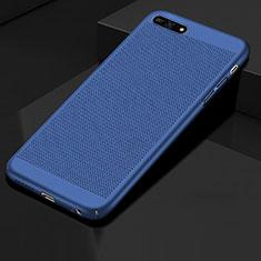 Handyhülle Hülle Kunststoff Schutzhülle Punkte Loch Tasche für Huawei Y6 (2018) Blau