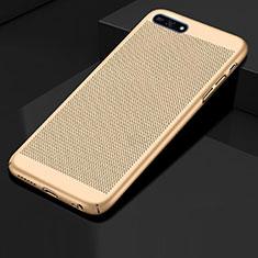 Handyhülle Hülle Kunststoff Schutzhülle Punkte Loch Tasche für Huawei Y6 Prime (2018) Gold