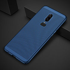 Handyhülle Hülle Kunststoff Schutzhülle Punkte Loch Tasche für OnePlus 6T Blau