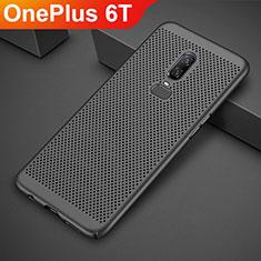 Handyhülle Hülle Kunststoff Schutzhülle Punkte Loch Tasche für OnePlus 6T Schwarz